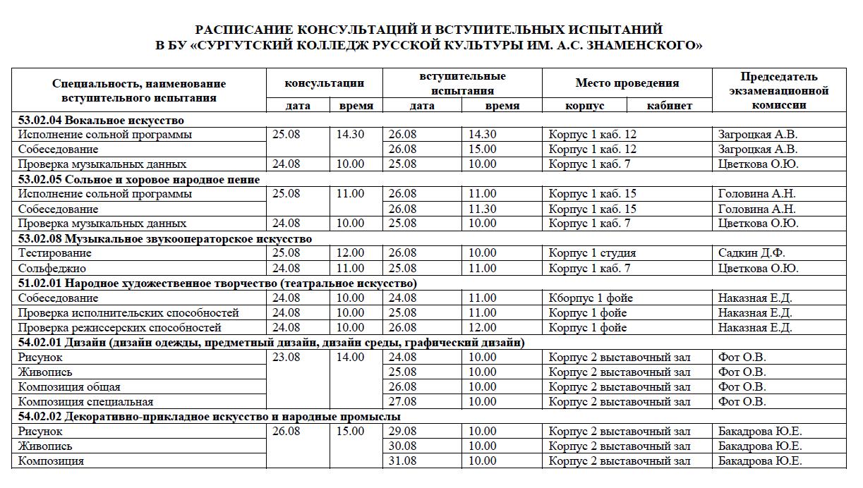 Расписание вступительных испытаний и консультаций