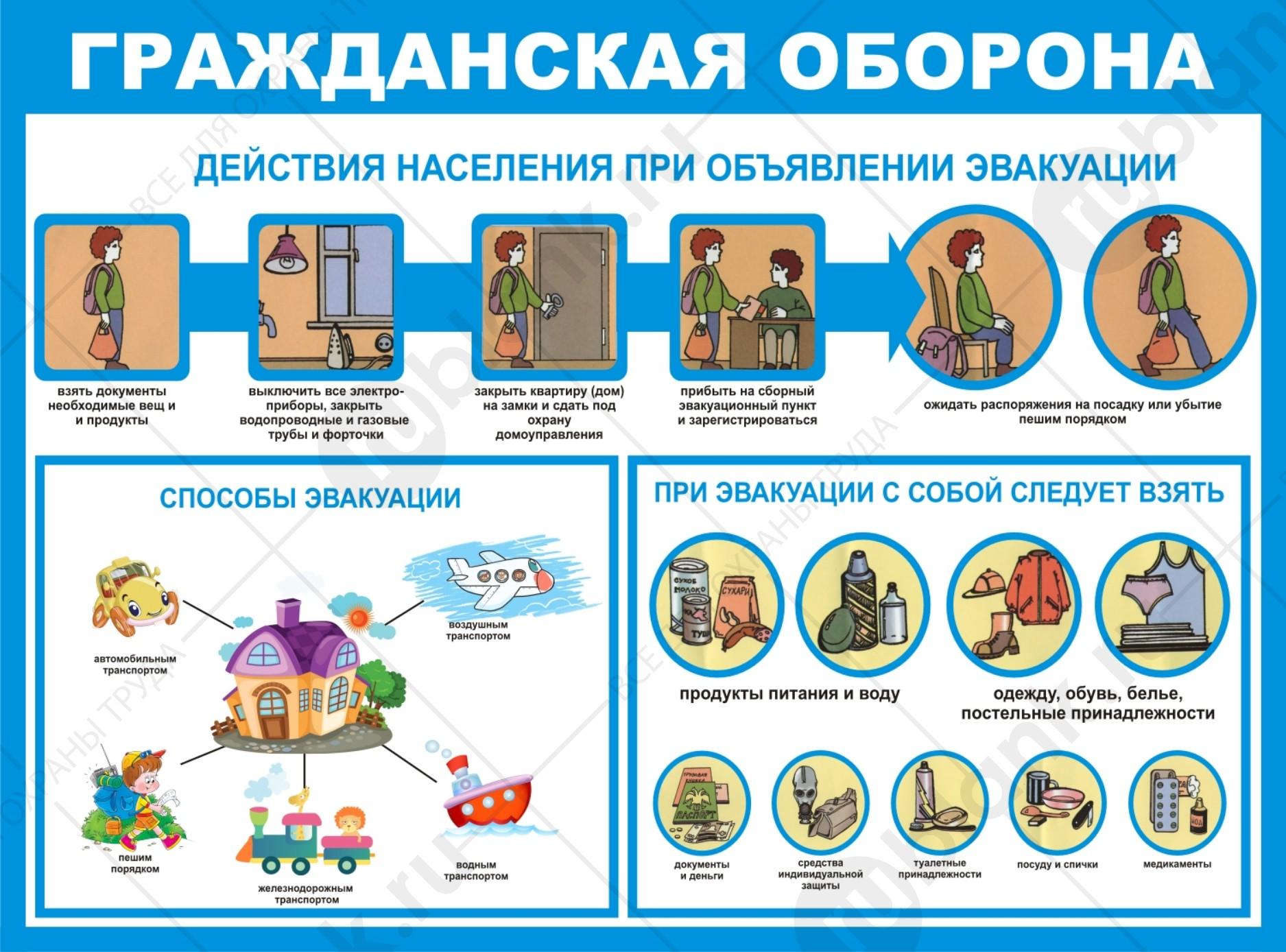 Плакат. Действия населения при объявлении эвакуации